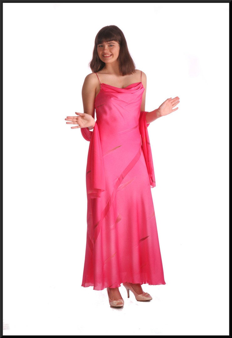 Twenties style 100% polyester ankle length satinette party dress with matching shrug, shocking pink, size 12, model height 5'10""
