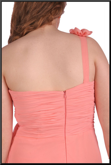 """Ankle length chiffon evening / bridesmaid dress with bejewelled strap - pink, size 10 / 12. Model height 5'7"""""""