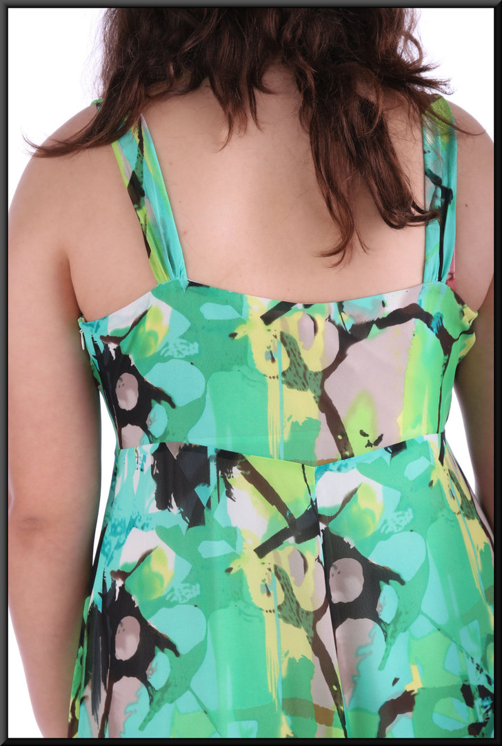"""Boho """"Summer of Love"""" lined chiffon ankle length dress - black, white and green, size 16; model height 5'8"""""""