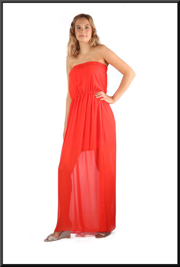 """Strapless boho style summer dress, comprising mini-skirt with long chiffon over-dress, vermilion, size 10, model height 5'10"""""""