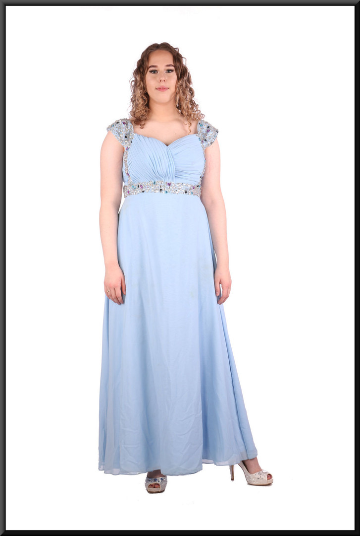 Silk-effect full-length dress with ruched bodice and diamanté detail, size 12 / 14 in light blue.  Model height 5'7""