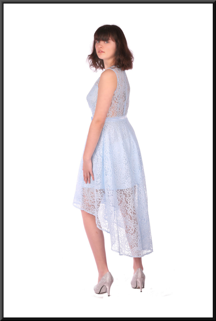 Net variable length cocktail / party dress over satin mini skirt - pale blue, size 10 / 12.  Model height 5'10""
