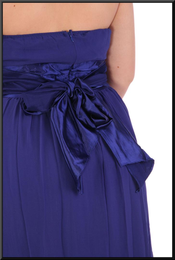 "Strapless ankle length evening dress chiffon over satinette - blue, size 14; model height 5'7"".  Accessories A028 (bracelet) & A029 (felt clasp bag)"