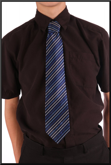 Dark blue tie with lighter bluer and white diagonal stripes