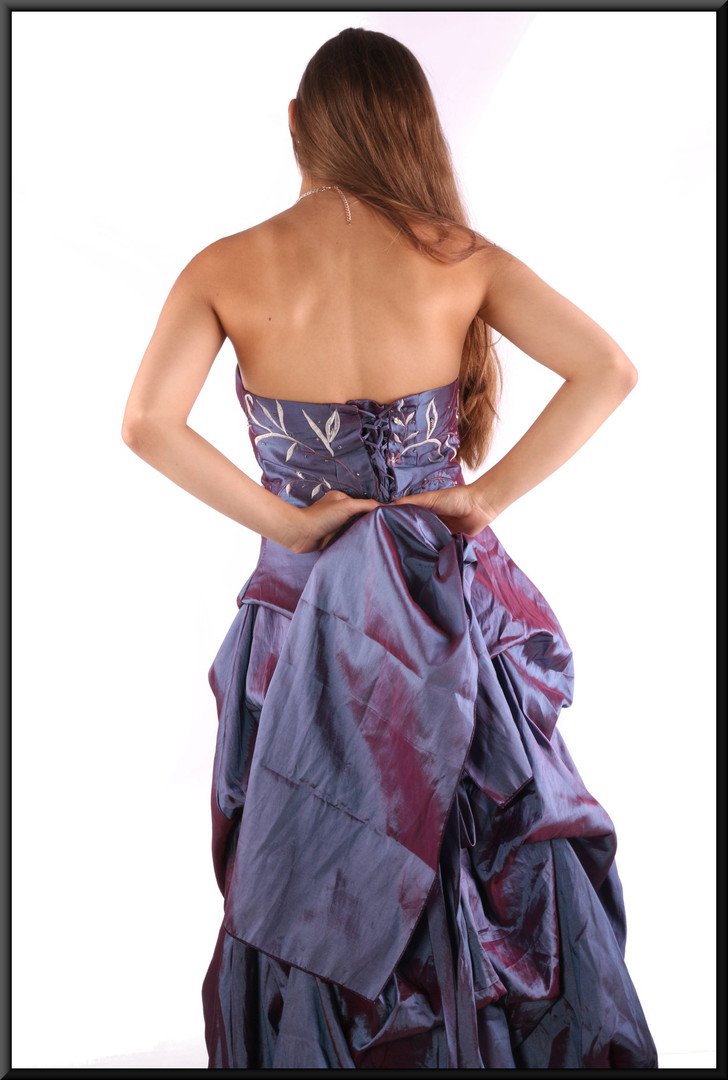 """Incandescent strapless evening dress with embroidered bodice and matching shrug, purple, size 10, model height 5'2"""""""