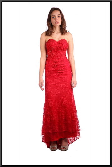 """Sequinned full length evening dress (marked US 2 but fits US 1) - red, size 4 (maybe 6). Model height 5'7"""""""