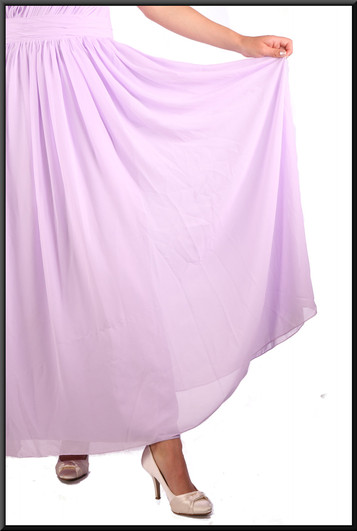 Ankle length chiffon over satinette evening dress with corset tie, pale lilac, size 10, model height 5'10""