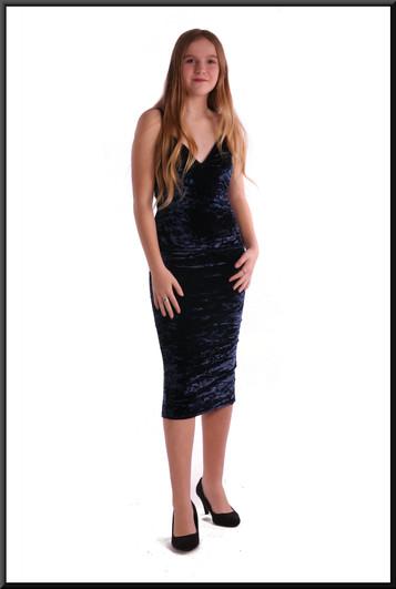 Velvet effect polyester cocktail dress - royal blue