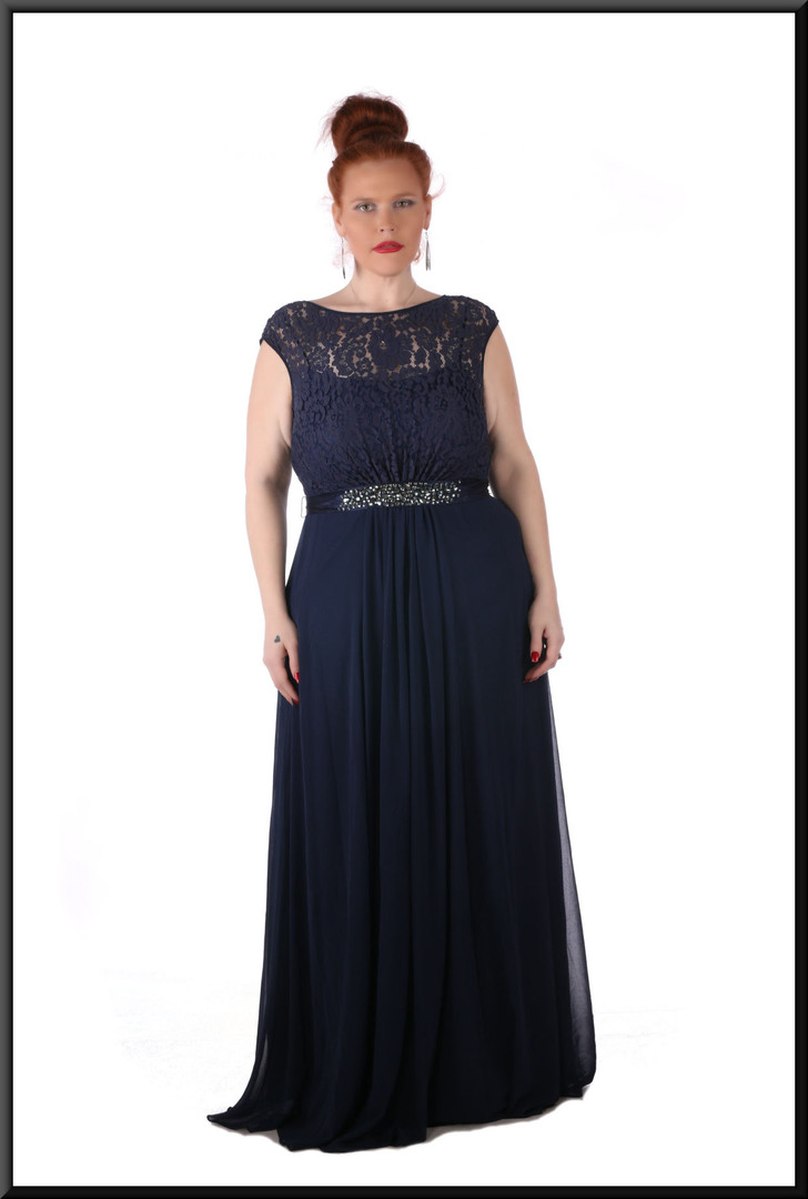Silk-effect skirt c/w pseudo-crochet bust, diamanté midriff  - navy blue
