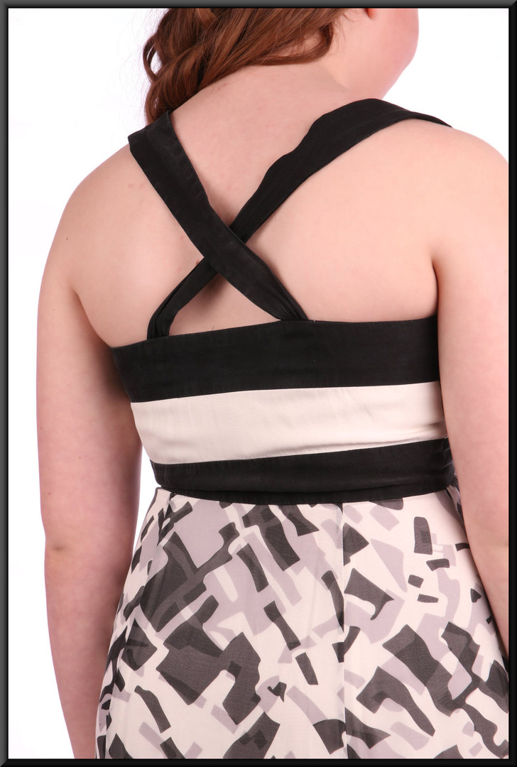 Full length summer evening dress falling from the bust-line - black and grey on cream, size 10.  Model height 5'4""
