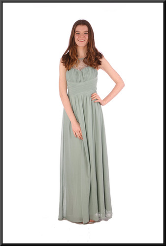 Full length chiffon over satinette evening dress with rear ruched bodice - sage green, size 10 / 12; model height 5'7""