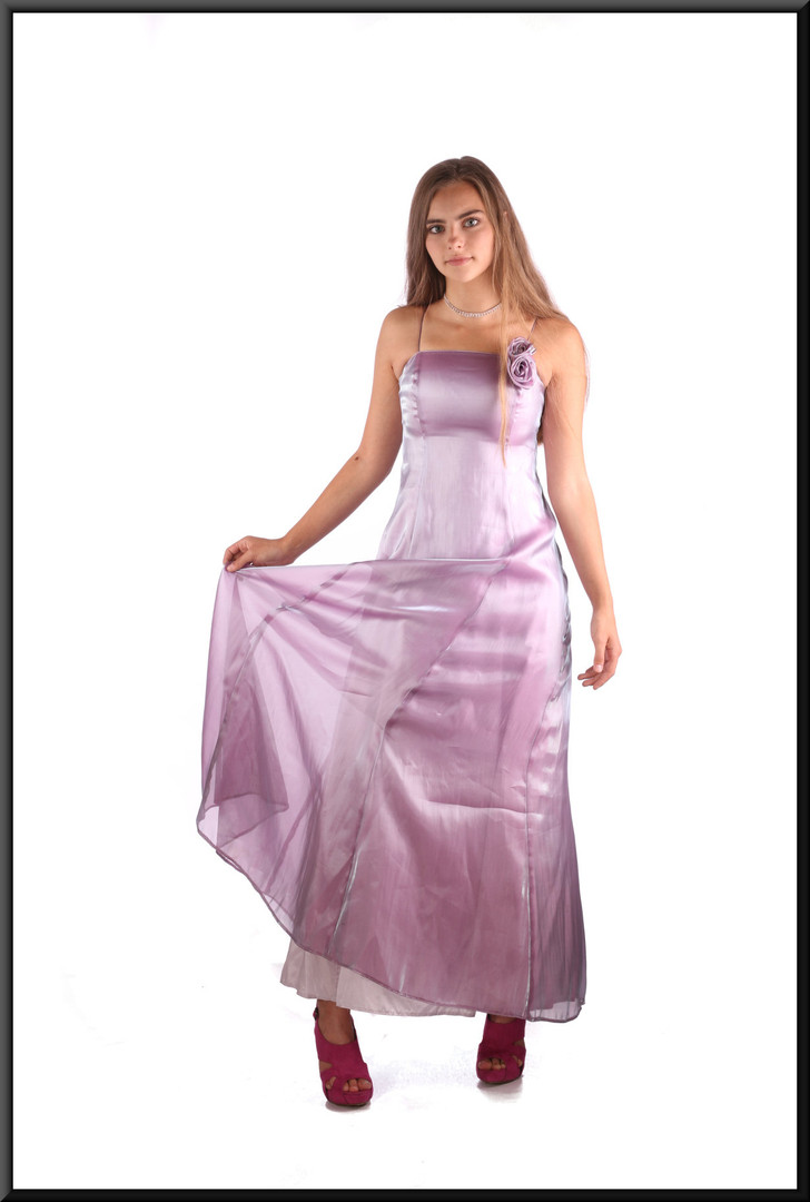 Incandescent ankle length evening dress with rose motif embroidered on the bodice, lilac, size 4, model height 5'2""