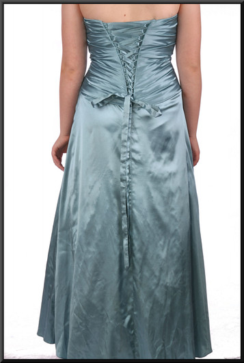"""Strapless silk-effect full-length bejewelled evening dress beaded bodice and corset tie - sea green, size 10. Model height 5'7"""""""
