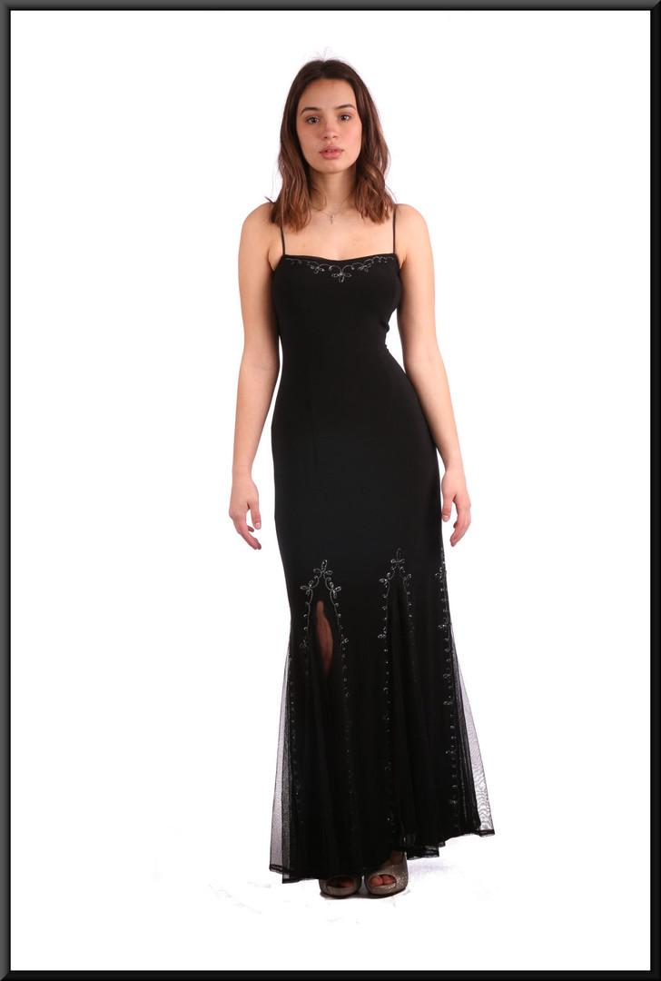 """Berber style full length split skirt over net underskirt with diamanté bodice - black, size 4 / 6. Model height 5'7"""""""