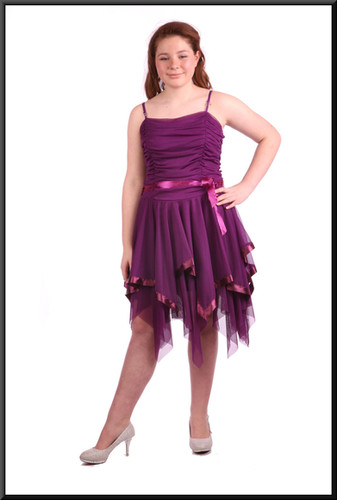 """Multi-layered net fairy mini dress with ruched bodice - plum, size 8/10; model height 5'4"""""""