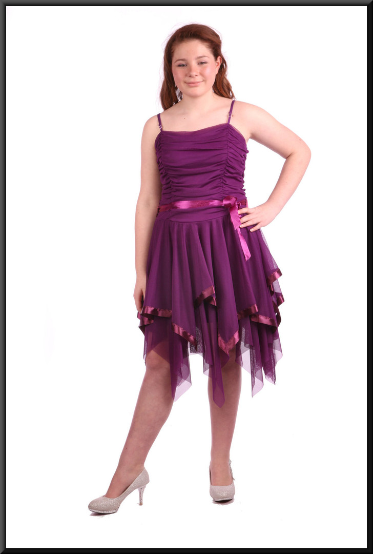 Multi-layered net fairy mini dress with ruched bodice - plum, size 8/10; model height 5'4""
