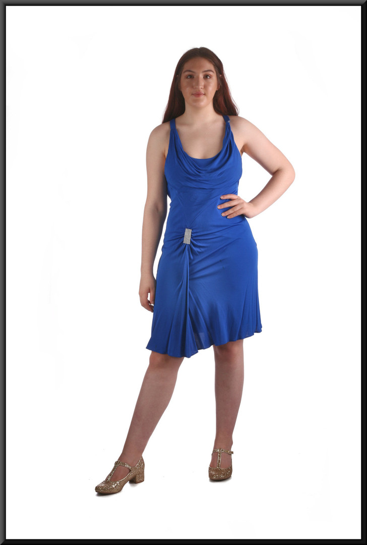 Knee length cocktail dress with gem cluster on front and back marked US 8, blue, size 12 (marked in error UK 10), model height 5'7""