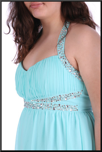 """Full length chiffon over satinette evening dress with sequinned bodice and straps - pale blue , size 16 - 2 of 2; model height 5'8"""""""
