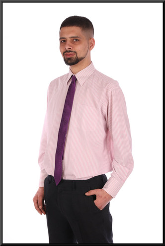 """Men's pink and white striped business shirt collar 16"""" / 40 / 41 cm"""