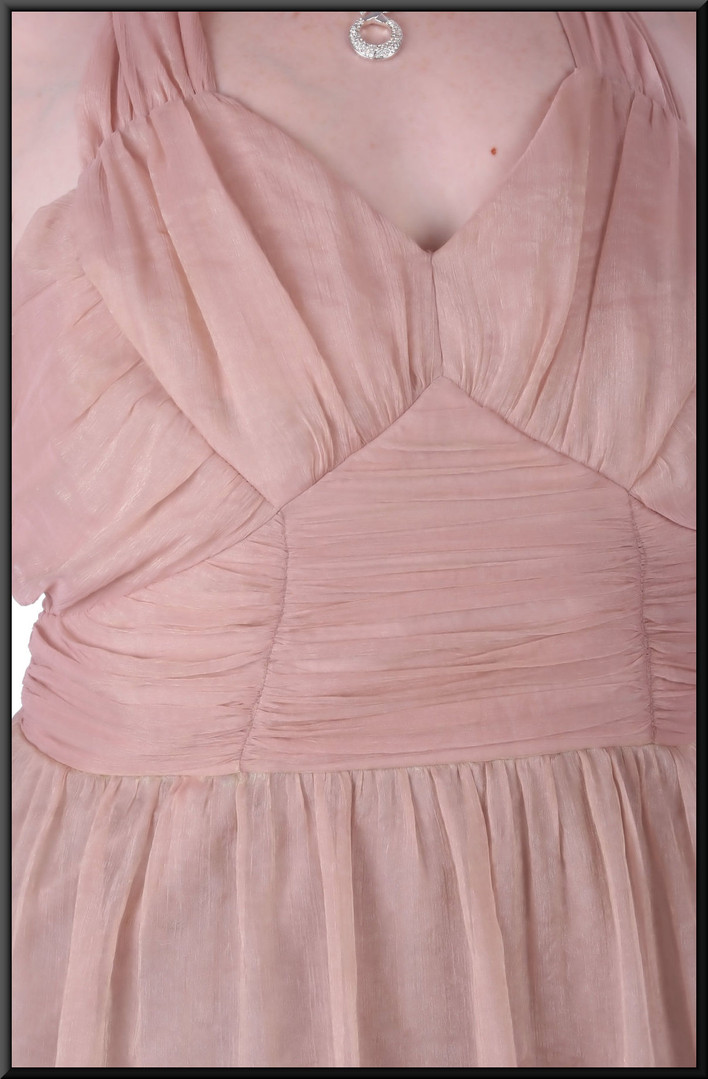 """Midi length zip side dress, cross-over straps, ruched bodice, satin underskirt, size 20 / 24in pink c/w gold thread. Model height 5'7"""""""