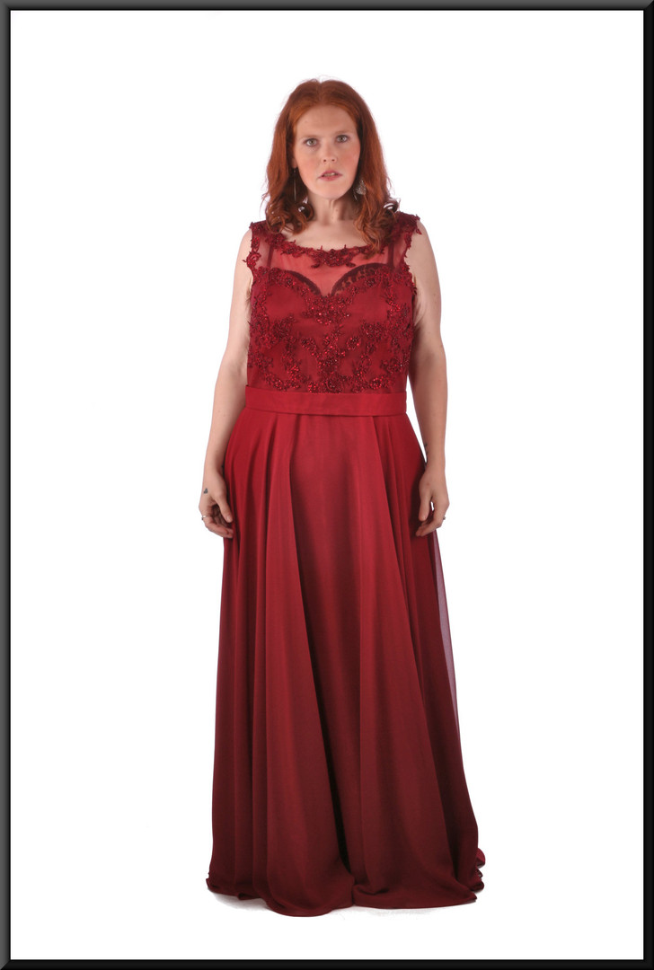 """Full figure full length classic evening dress / ball gown with diamanté embellished bodice, burgundy, size 24, model height 5'7"""""""