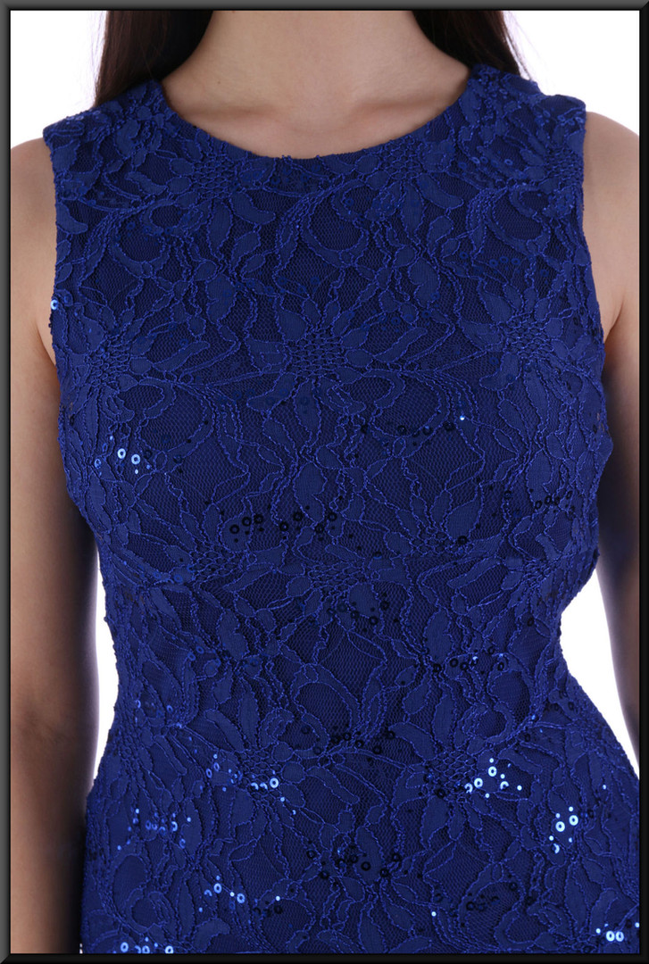 """Short dress topped with a spilt net sequinned over-skirt and bodice - royal blue, size 10. Model height 5'10"""""""