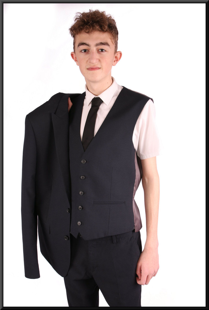 3-piece suit, with grey satin lining, chest 40L, waist 32, inside leg 31, fit regular