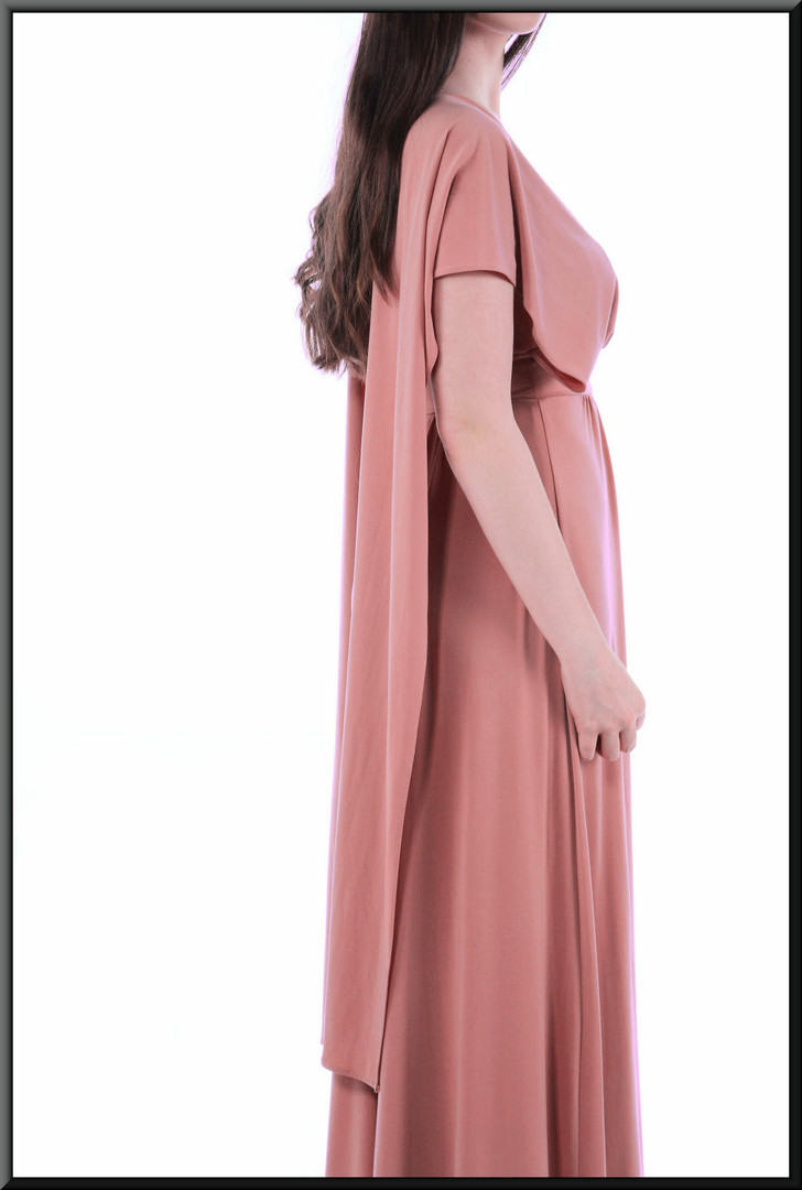 Simple Greek Oracle style mid-calf dress - dusky pink, size 8.  Model height 5'10""