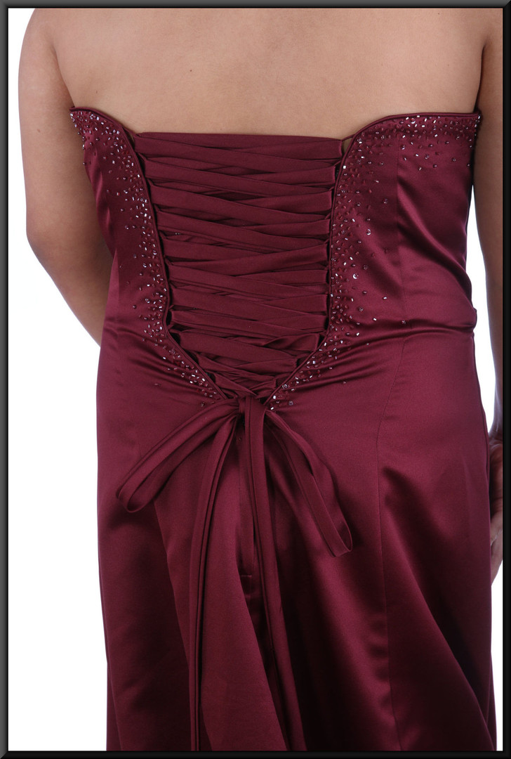 """Full length satinette evening dress with embellished bodice over ruched panels and with corset tie - plum, size 18model height 5'2"""""""