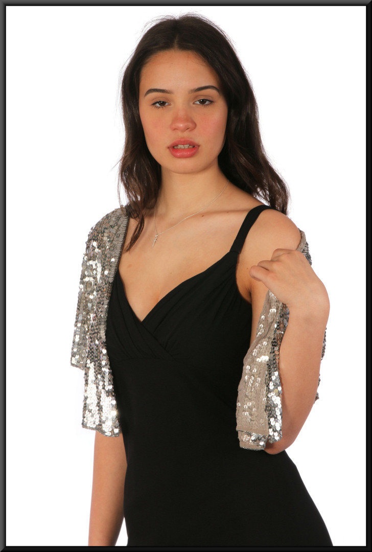 Sequinned silver bolero jacke, fits size 6 - 10,t illustrated with dress cat no 264