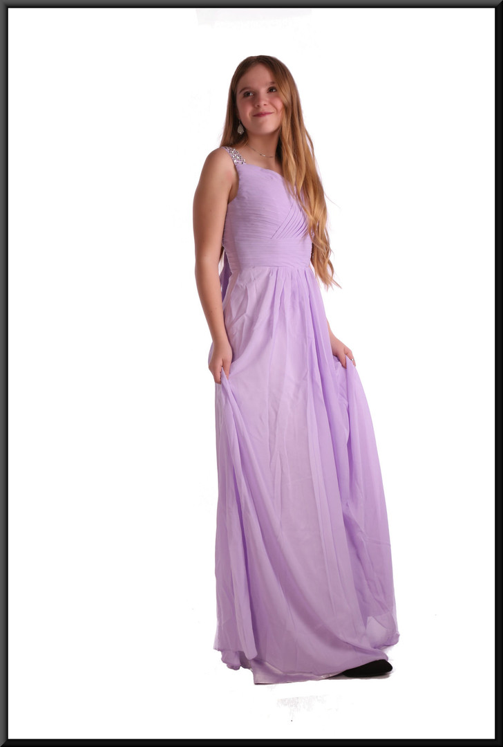 """Full length polyester chiffon bridesmaid dress with satin underskirt and rear bow, size 8 in lilac. Model height 5'5"""""""