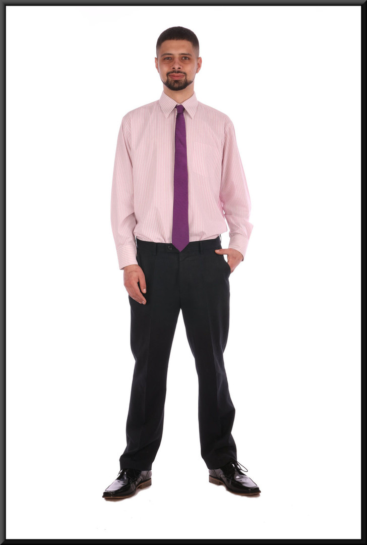 """Men's pink and white striped business shirt collar 16"""" / 40 / 41 cm.Worn with trousers cat. no. 229 and tie cat. no. A082"""