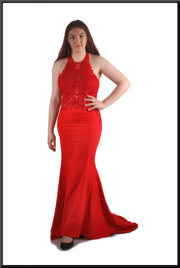 """Full length evening dress with train & embroidered bodice with slightly see-through panels, red,, size 14 / US 10, model height 5'7"""""""