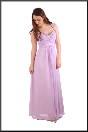 """Ankle length chiffon over satinette evening dress, embellished bodice / straps, corset tie - lavender, size 12; model height 5'7"""""""