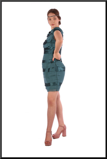 """Thoroughly Modern Millie style mini dress - two-tone turquoise, szie 12, (head band not available), size 12; model height 5'7"""""""