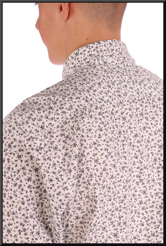 Men's shirt collar EU size 40 slim-fit - white with coloured pattern