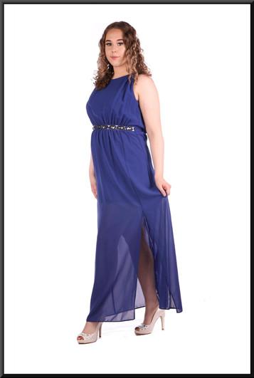 Greek goddess style ankle length voile over satinette mini dress 100% polyester - royal blue