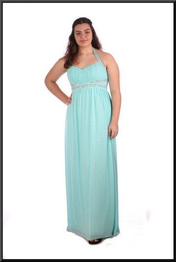 """Full length chiffon over satinette evening dress with sequinned bodice and straps - pale blue , size 16 - 1 of 2; model height 5'8"""""""