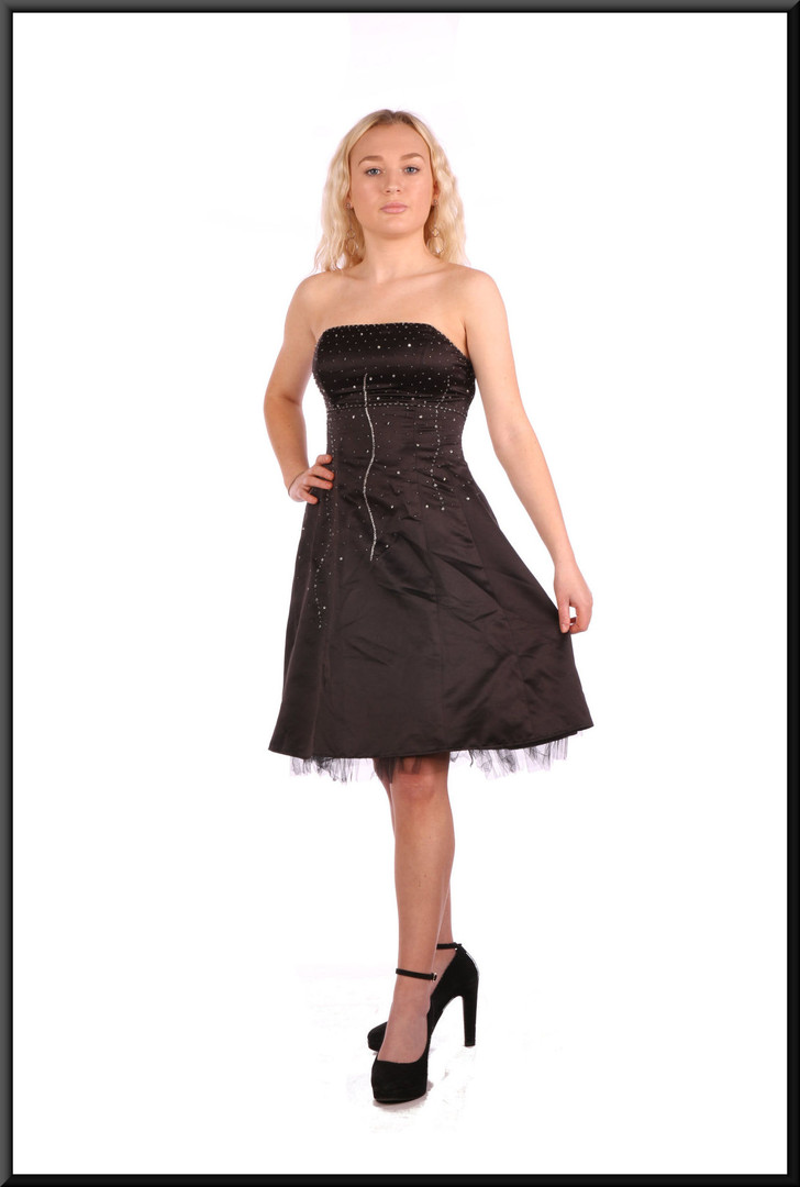 """Black strapless satinette over net mini-dress with embellished bodice and corset tie, size 4in black Model height 5'2"""""""