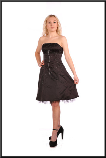 Black strapless satinette over net mini-dress with embellished bodice and corset tie - black