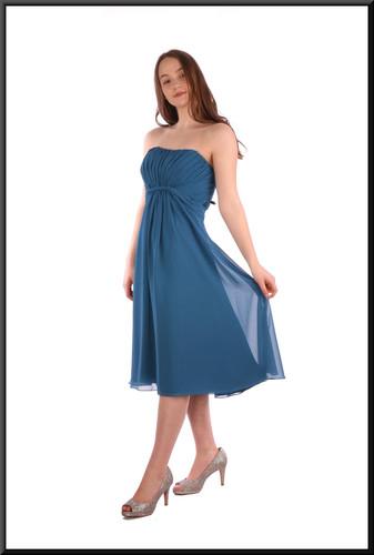 "Strapless knee length full skirt party dress chiffon over satinette - teal, size 14. Model height 5'7"""