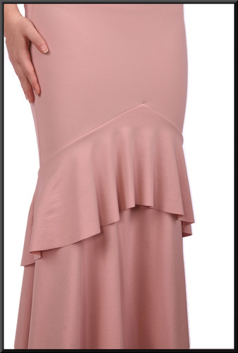 Polyester full length Jessica Rabbit style evening dress - powder pink, size 10 / 12.  Model height 5'7""