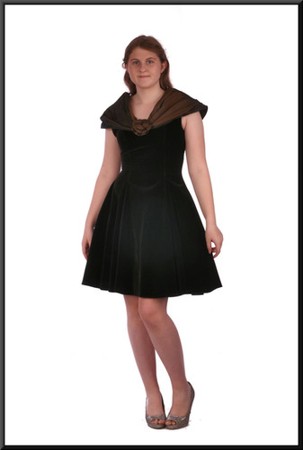 """Velvet mini cocktail dress with satin halter - dress black, halter bronze, size 12. Model height 5'7"""""""