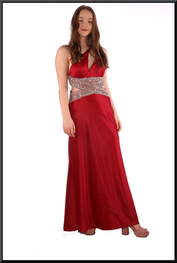 Full length slimline evening dress with embellished bodice and shoulder strap - burgundy, size 12.  Model height 5'7""