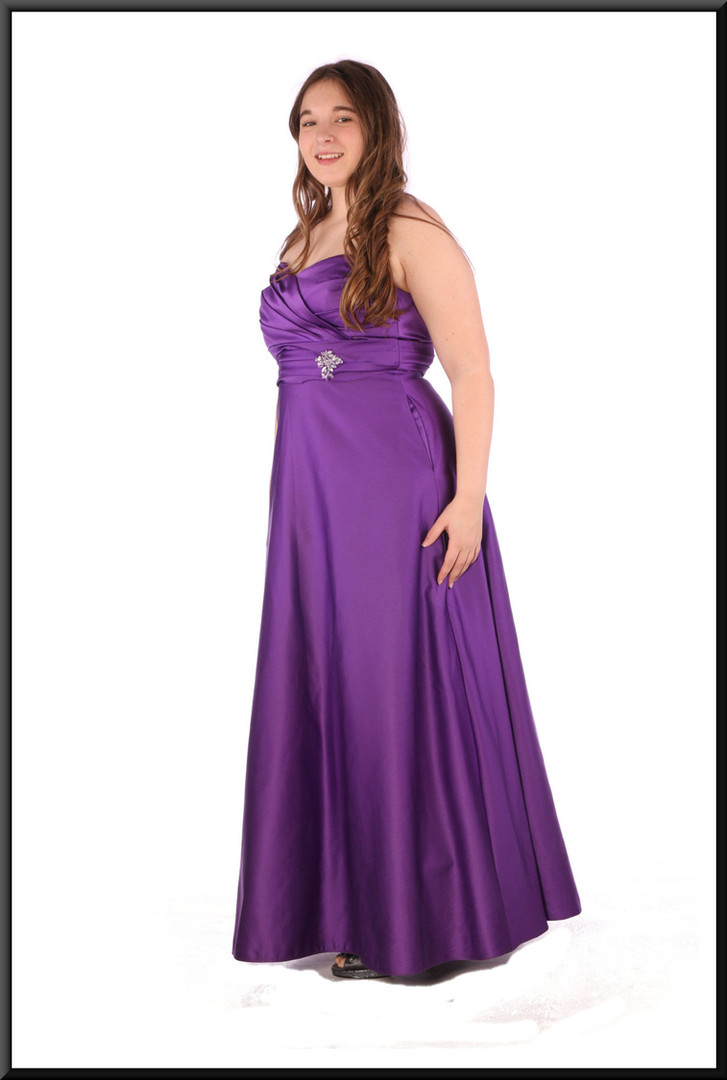 """Strapless satin effect evening dress with ruched bodice  - plum, size 14; model height 5'7"""""""