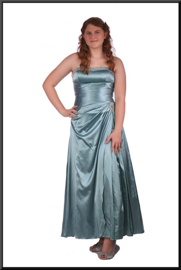 Strapless silk-effect full-length bejewelled evening dress beaded bodice and corset tie, sea green
