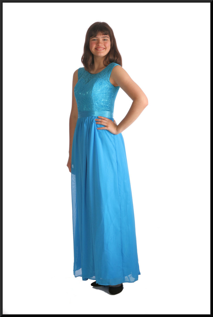 """Ankle length bridesmaid dress with lace bodice and satinette skirt plus corset tie – 2 of 2, dark sea blue, size 10, model height 5'10"""""""