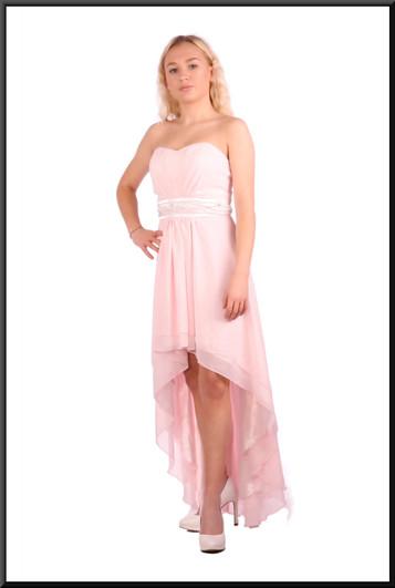 Strapless polyester chiffon double layer dress - pink