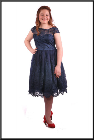 """Below the knee layered net over satinette dress,navy blue - size 12. Model height 5'4"""""""