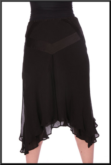 """Panelled multi-layered chiffon and satinette knee length skirt  - black, size 10 / 12 – illustrated with top cat no 208; model height 5'6"""""""
